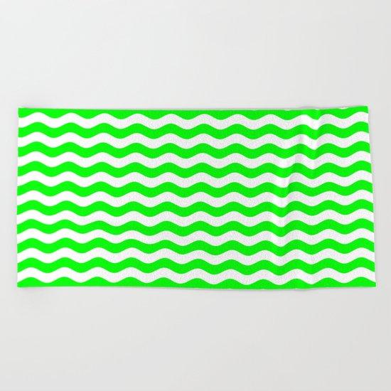 Wavy Stripes (Green/White) Beach Towel