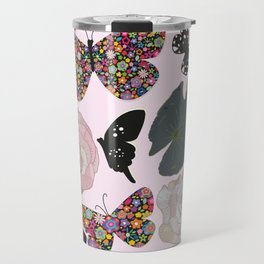 Colorful Made of Flowers Butterfly, Peony and Leaves Pattern Travel Mug