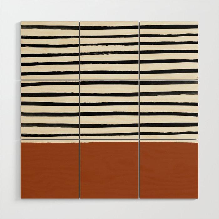 Burnt Orange x Stripes Wood Wall Art