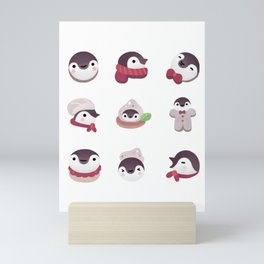 Cookie & cream & penguin - pink pattern Mini Art Print