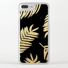 Gold Glitter Palms  |  Black Background Clear iPhone Case