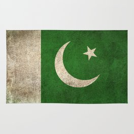 Old and Worn Distressed Vintage Flag of Pakistan Rug