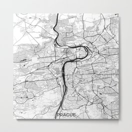 Prague Map Gray Metal Print
