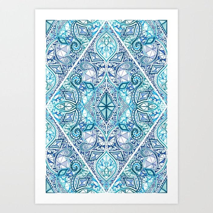Blue and Teal Diamond Doodle Pattern Art Print