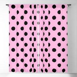 Polka Dots (Black & Pink Pattern) Blackout Curtain