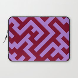 Lavender Violet and Burgundy Red Diagonal Labyrinth Laptop Sleeve