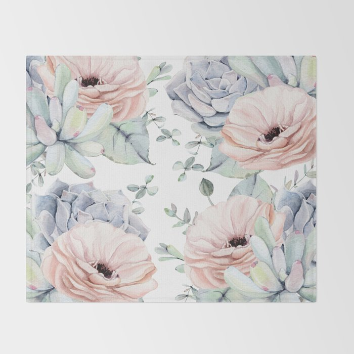 Pretty Succulents by Nature Magick Throw Blanket