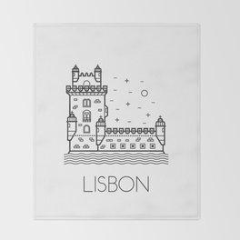 Belém Tower Lisbon Portugal Black and White Throw Blanket
