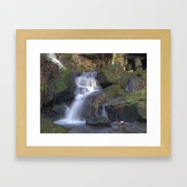 Lumsdale waterfall 6 - colour Framed Art Print