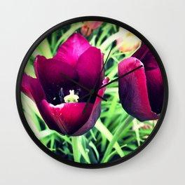 Purple Tulips in Bloom Wall Clock