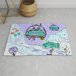 Winter snow alpine wonderland illustration Rug