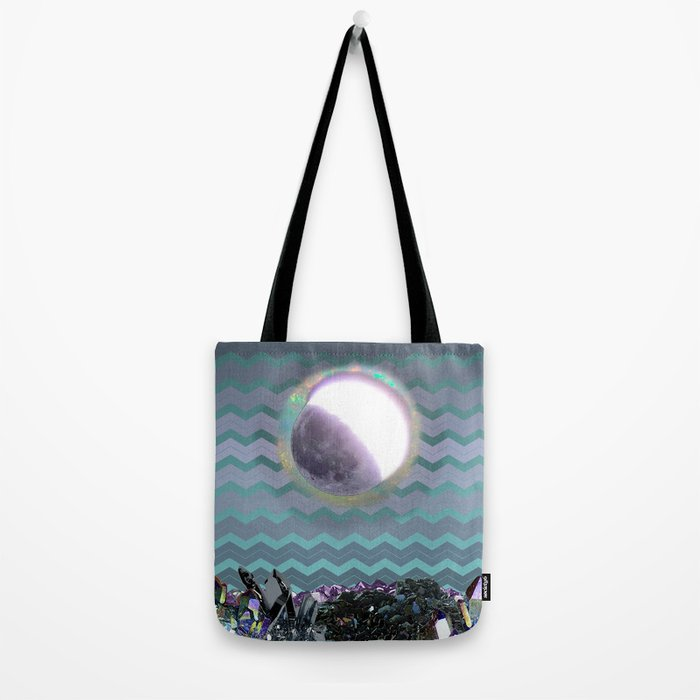 Moon Crystal Chevron Pattern Purple and Teal Tote Bag