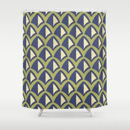 Classic Hollywood Regency Pyramid Pattern 240 Beige Blue and Green Shower Curtain