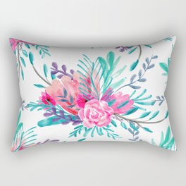 Modern hand painted pink turquoise floral watercolor pattern Rectangular Pillow