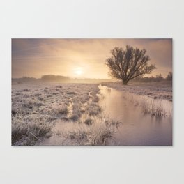 Sunrise over a frozen landscape in The Netherlands Canvas Print