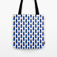 nail polish Tote Bags featuring Blue Nail Polish by lilacattack