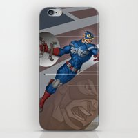 steve rogers iPhone & iPod Skins featuring Captain Steve Rogers by Jesse J Larsen