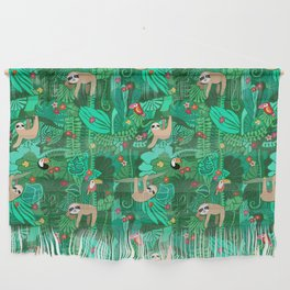 Sloths in the Emerald Jungle Pattern Wall Hanging