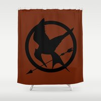 mockingjay Shower Curtains featuring Mockingjay by Jessica Wray