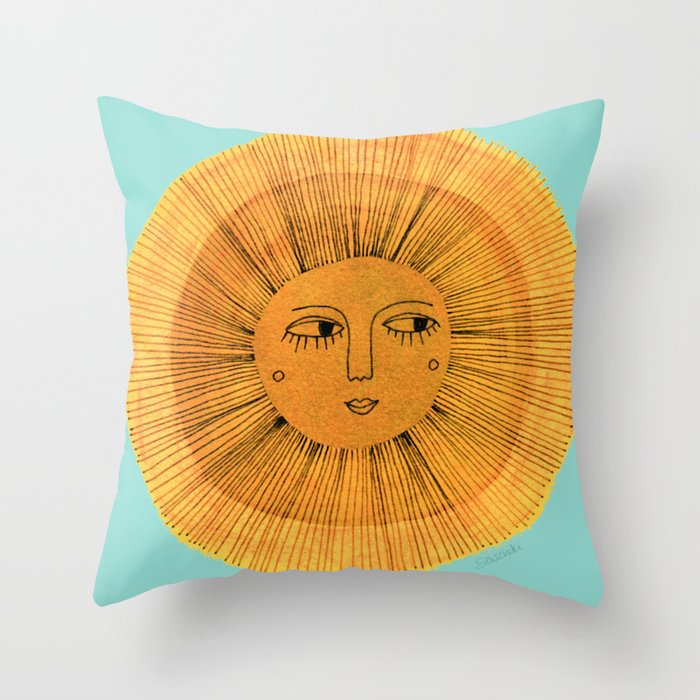 Sun Drawing - Gold and Blue