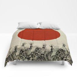Orange sun Comforters