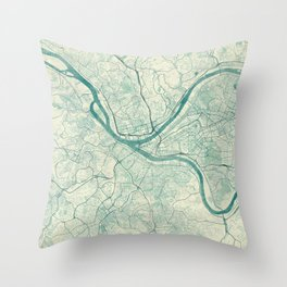 Pittsburgh Map Blue Vintage Throw Pillow