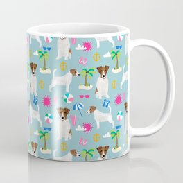 Jack Russell Terrier beach day vacation dog art fun in the sun seaside romp pet portrait fur baby Coffee Mug