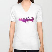 madrid V-neck T-shirts featuring Madrid skyline by jbjart