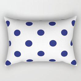 Navy & White Polka Dots Rectangular Pillow