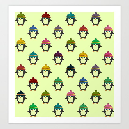 Penguins with colorful beanies Art Print