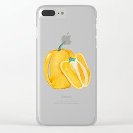 yellow bell pepper watercolor Clear iPhone Case