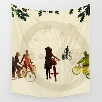 bikes Wall Tapestries featuring People and Bikes by Design4u Studio