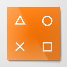Orange Gamer Pattern Metal Print