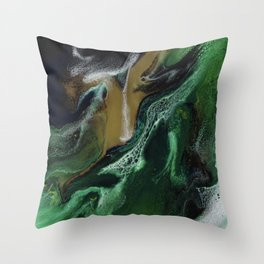 Trimeresurus Stejnegeri - green fluid abstract Resin Art Throw Pillow