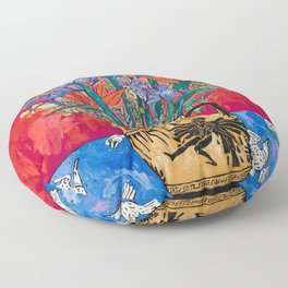 Icarus Floral Still Life Painting with Greek Urn, Irises and Bird of Paradise Flowers Floor Pillow