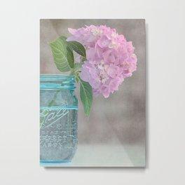 Pink Hydrangea in Blue Jar Vase -- Still Life Metal Print