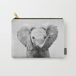 Baby Elephant - Black & White Carry-All Pouch