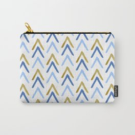 Hand Painted Arrows Pattern - Gold and Blue Palette Carry-All Pouch