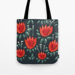 Abstract Red Tulip Floral Pattern Tote Bag
