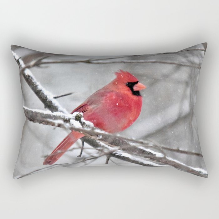 Quiet Time in the Snowy Woods Rectangular Pillow