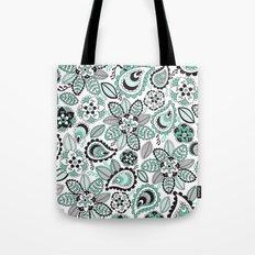 Aqua Paisley Tote Bag
