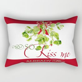 Christmas Holiday Mistletoe Party Fun Kiss Me  Rectangular Pillow