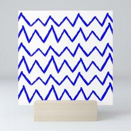 Hand-Drawn Zig Zag (Blue & White Pattern) Mini Art Print