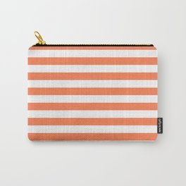 Horizontal Stripes (Coral/White) Carry-All Pouch