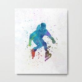 Man roller skater inline in watercolor Metal Print