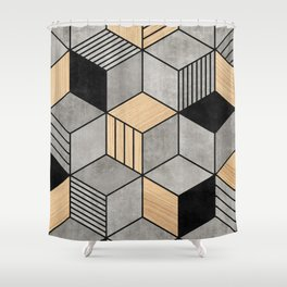 Concrete and Wood Cubes 2 Shower Curtain