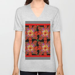 GREY & BLACK ART RED DECO ORANGE-RED POPPIES Unisex V-Neck