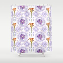 Gothic Revival Daylily Lace Shower Curtain
