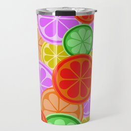 Citrus Explosion - A Pattern of Many Fruits from the Citrus Family Travel Mug