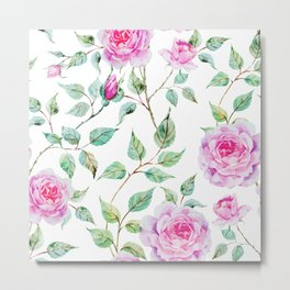 Roses Pink and White Shabby Chic Floral Metal Print